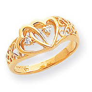 0.05ct. Diamond Heart Ring Mounting 14k Gold Polished Y1729