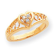 0.05ct. Diamond Heart Ring Mounting 14k Gold Polished Y1732