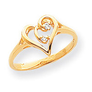 0.03ct. Diamond Heart Ring Mounting 14k Gold Polished Y1774