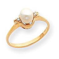0.02ct. Diamond & Cultured Pearl Ring Mounting 14k Gold Polished Y1837