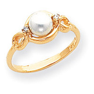 0.02ct. Diamond & Cultured Pearl Ring Mounting 14k Gold Polished Y1843