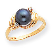 0.03ct. Diamond & Cultured Pearl Ring Mounting 14k Gold Polished Y1863