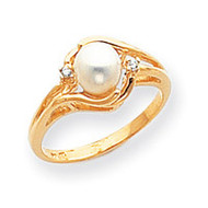 0.03ct. Diamond & Cultured Pearl Ring Mounting 14k Gold Polished Y1924