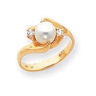0.08ct. Diamond & Cultured Pearl Ring Mounting 14k Gold Polished Y1932