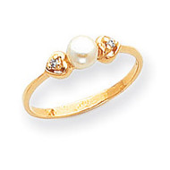 0.02ct. Diamond & Cultured Pearl Ring Mounting 14k Gold Polished Y1936