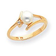 0.01ct. Diamond & Cultured Pearl Ring Mounting 14k Gold Polished Y1946