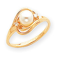 0.03ct. Diamond & Cultured Pearl Ring Mounting 14k Gold Polished Y1968