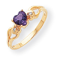 0.02ct. Diamond & 5mm Heart Gemstone Ring Mounting 14k Gold Polished Y2186