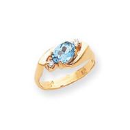 0.06ct. Diamond & 7x5 Oval Gemstone Ring Mounting 14k Gold Polished Y2260