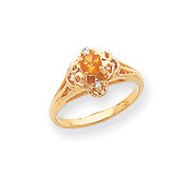 0.04ct. Diamond & 4mm Round Gemstone Ring Mounting 14k Gold Polished Y2264
