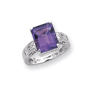 0.02ct. Diamond & 12x10 Emerald-cut Gemstone Ring Mounting 14k White Gold Y2270