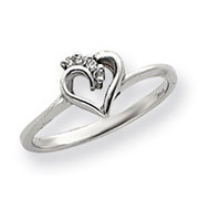 0.04ct. Diamond Heart Ring Mounting 14k White Gold Y4173