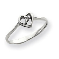 0.02ct. Diamond Heart Ring Mounting 14k White Gold Y4186
