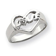 0.01ct. Diamond Heart Ring Mounting 14k White Gold Y4193