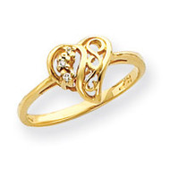 0.02ct. Diamond Heart Ring Mounting 14k Gold Y4194