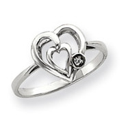 0.01ct. Diamond Heart Ring Mounting 14k White Gold Y4199