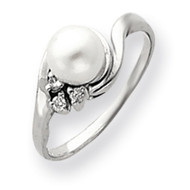 0.05ct. Diamond & 6mm Cultured Pearl Ring Mounting 14k White Gold Y4316