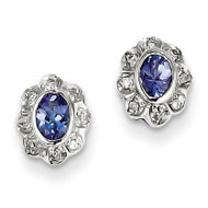 Tanzanite & Diamond Earrings Sterling Silver QDX973
