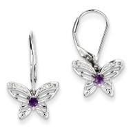 Amethyst & Diamond Butterfly Earrings Sterling Silver QE10266AM