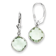 Green Quartz Dangle Lever Back Earrings Sterling Silver QE10945AG