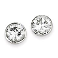 9mm Diamond Round Bezel Stud Earrings Sterling Silver QE3177