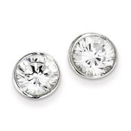 8mm Diamond Round Bezel Stud Earrings Sterling Silver QE3178