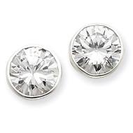10mm Diamond Round Bezel Stud Earrings Sterling Silver QE3266