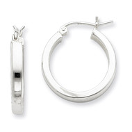 Square Tube Hoop Earrings Sterling Silver Rhodium-plated QE4520