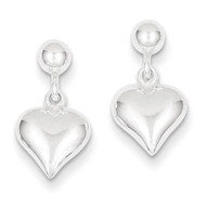 Puffed Heart Post Earrings Sterling Silver Polished QE7046