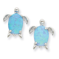 Opal Turtle Post Earrings Sterling Silver QE7435