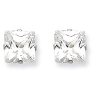 6mm Square Diamond 4 Prong Stud Earrings Sterling Silver QE7502