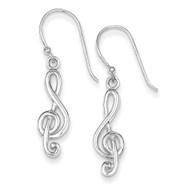 Music Treble Clef Shepherd Hook Earrings Sterling Silver QE8794
