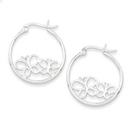 Double Butterfly Hoop Hinged Earrings Sterling Silver Rhodium-plated QE8807
