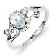Aquamarine Oval Ring Sterling Silver Rhodium-plated Diamond QR4500AQ