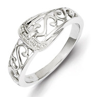 Buckle Ring Sterling Silver Rhodium-plated Diamond QR4895