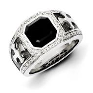 Diamond & Onyx Black Rhodium-plated Cross Men's Ring Sterling Silver QR5551