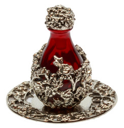 Silver with Red Glass Victorian Tear Bottle pictured with Optional Silver Tray w/ Solid Rim - Sold Separately