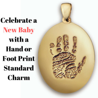 Standard Charm in 14k Yellow Gold with Hand Print