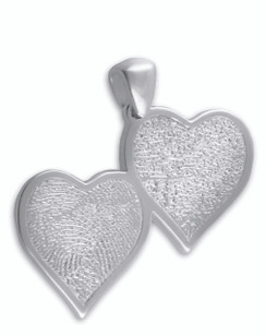 Double HeartFelt Charm in Sterling Silver with 2 Finger Prints
