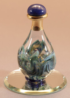 "Blue Marble Contemporary Tear Bottle - pictured with Optional 2"" Beveled Mirror - Sold Separately"