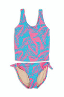 Palm Reader-Coral/Blue -Tankini Set UPF50