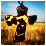 Mosaic Cross Beaded Necklace