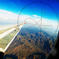 Mountain Road Airplane Window View