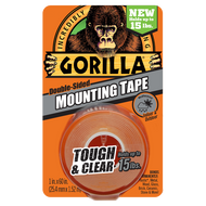 Gorilla Brand Double Sided Mounting Tape, Holds Up To 15 LBS.