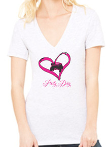 I Heart Trophy Trucks Short Sleeve Deep V-Neck White