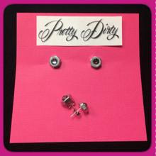 Stainless Steel Hex Nut Stud Earrings with Swarvoski Grey Crystals