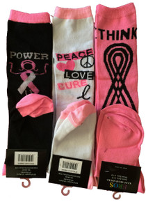 3 Pack of Breast Cancer Knee High Socks Power-Peace-Think