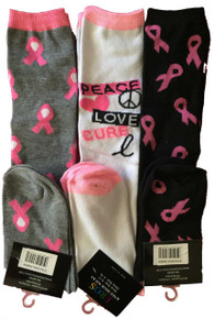 3 Pack of Breast Cancer Knee High Socks Grey/Pink, Peace/Love, Black/Pink