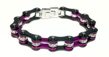 Womens Bike Chain Bracelet Purple and Black