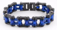 Men's Bike Chain Bracelet Black and Blue